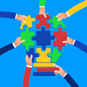 Conceito de design plano entrega trabalho em equipe, construindo negócios de sucesso com o símbolo de quebra-cabeças. ilustrar.