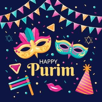 Conceito de design plano feliz dia de purim