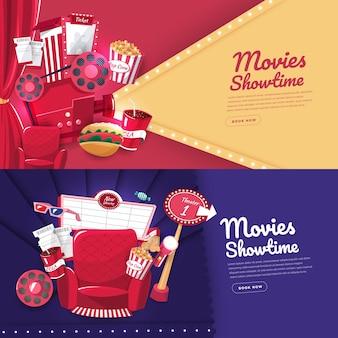 Conceito de design plano filme cinema tempo de exibição e teatro