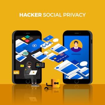 Conceito de design plano hacker atividade ciber ladrão