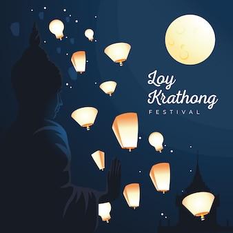 Conceito de design plano loy krathong