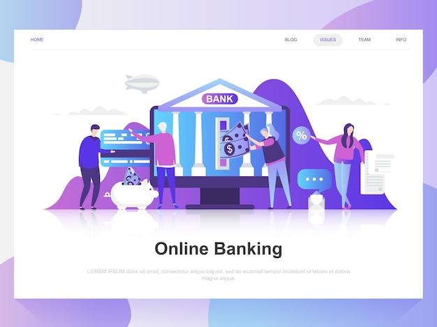 Conceito de design plano moderno de banca on-line.