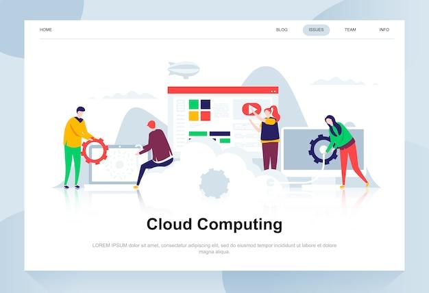 Conceito de design plano moderno de computação em nuvem.