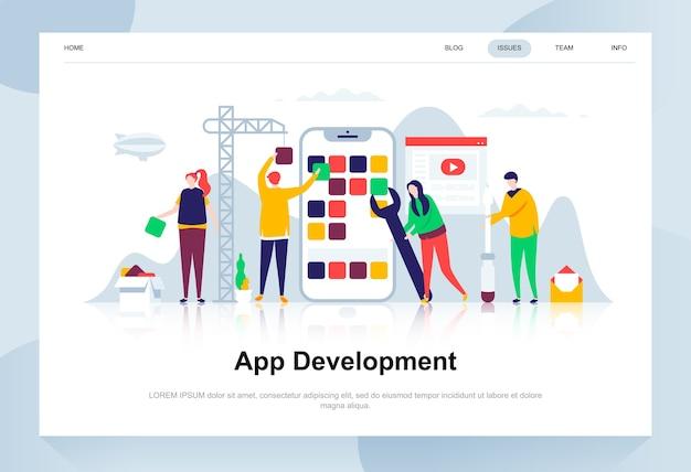 Conceito de design plano moderno de desenvolvimento de aplicativo.