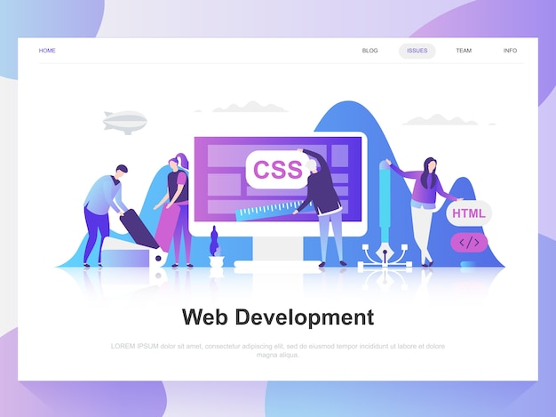 Conceito de design plano moderno de desenvolvimento web.