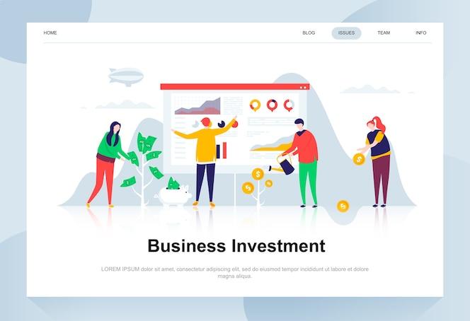 Conceito de design plano moderno de investimento empresarial.
