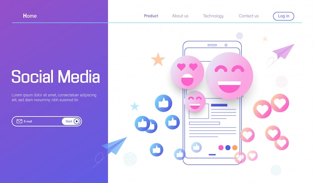 Conceito de design plano moderno de mídia social