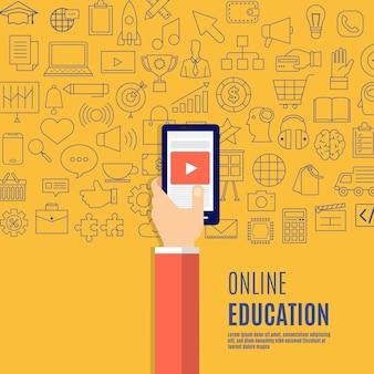 Conceito de design plano on-line presentes com ícones e elementos de e-learning