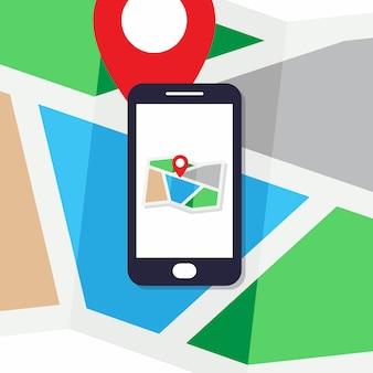 Conceito de design plano para mapa de pin de telefone móvel