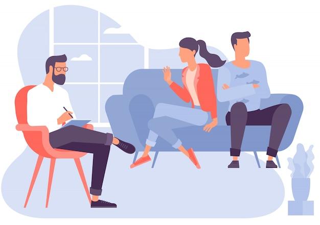 Conceito de design plano para sessão de psicoterapia. paciente com psicólogo, consultório psicoterapeuta. sessão de psiquiatra em clínica de saúde mental.