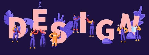 Conceito de design. processo de construção de edifícios com guindaste e personagens de trabalhadores em uniforme e capacetes, arquitetos com plano de projeto. cartaz, banner, folheto, brochura. ilustração em vetor plana dos desenhos animados