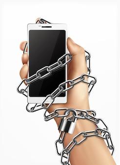 Conceito de design realista de dependência de smartphone com mão humana enrolada em corrente e segurando um gadget