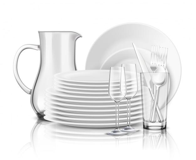 Conceito de design realista de utensílios de mesa limpa com pilha de pratos brancos jarro de vidro e ilustração de copos de vinho