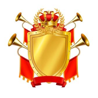 Conceito de design realista heráldico com coroa de escudo dourado e fanfarras de rei decoradas por ilustração de bandeiras vermelhas,