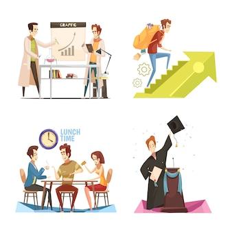 Conceito de design retrô dos desenhos animados de estudantes