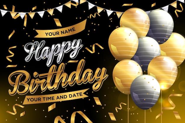 Conceito de design simples de banner de ouro de aniversário para um bom dia