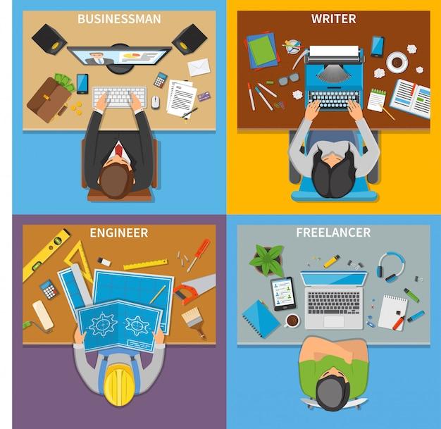 Conceito de design superior 2x2 das profissões