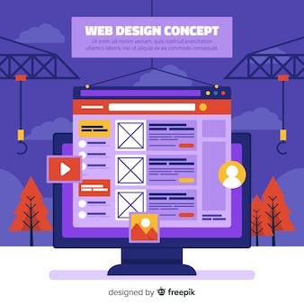 Conceito de design web colorido com design plano