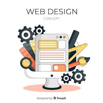 Conceito de design web linda mão desenhada