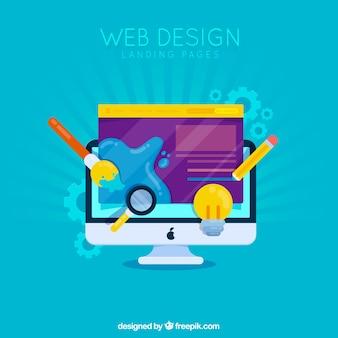 Conceito de design web para a página de destino