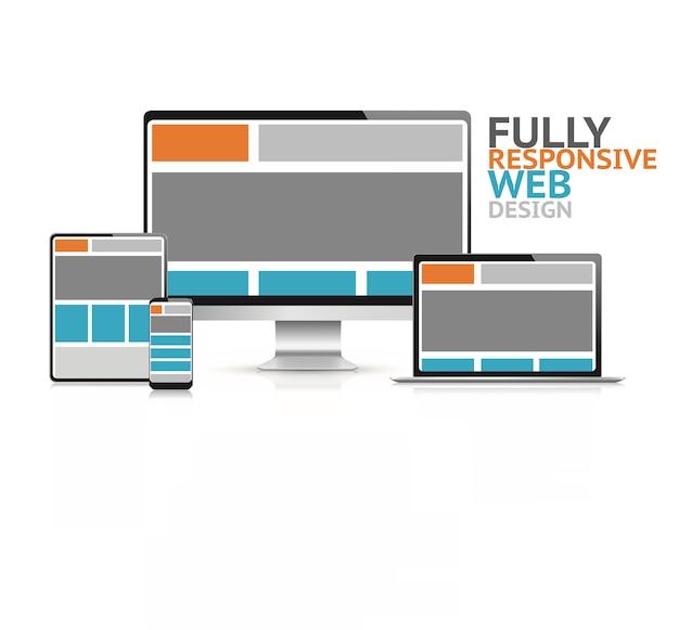 Conceito de design web responsivo em ilustração vetorial de dispositivos eletrônicos