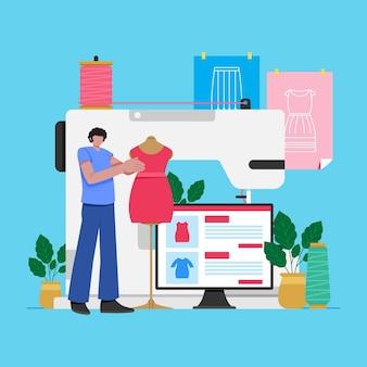 Conceito de designer de moda com máquina de costura