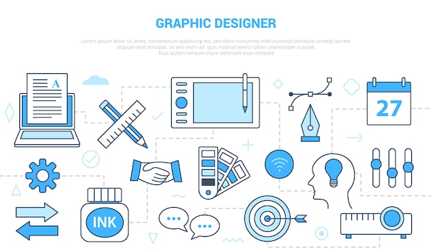 Conceito de designer gráfico com banner de modelo de conjunto de ícones com estilo moderno de cor azul