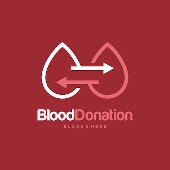 Conceito de designs de logotipo de doador de sangue, modelo de logotipo para transfusão de sangue