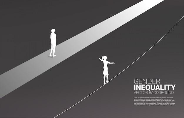 Conceito de desigualdade de gênero nos negócios e obstáculo na carreira de mulher