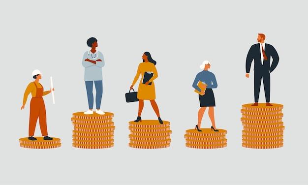 Conceito de desigualdade financeira ou lacuna nos ganhos