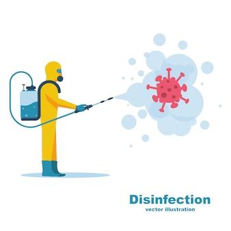 Conceito de desinfecção. coronavírus covid-19.