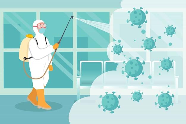 Conceito de desinfecção de vírus. homem de terno branco hazmat, limpeza de área pública do vírus corona
