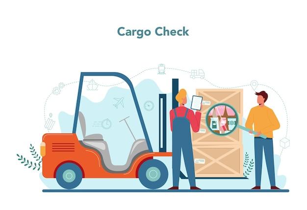 Conceito de despachante. conceito de serviço de transporte. carregador de uniforme segurando uma caixa.