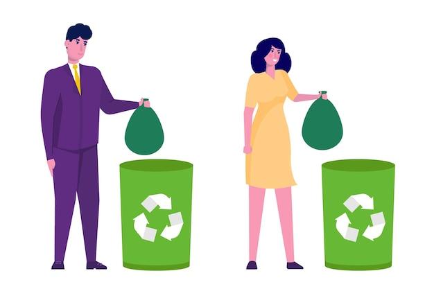 Conceito de desperdício. mulher e homem jogando lixo na lixeira verde.