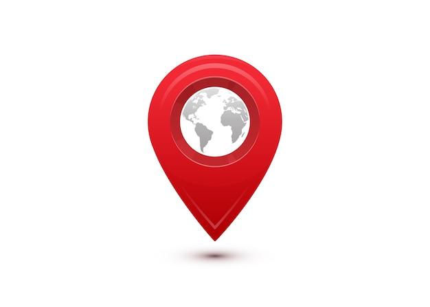 Conceito de destino. viagem internacional. ponteiro vermelho com mapa-múndi cinza dentro.