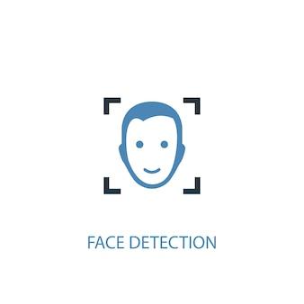 Conceito de detecção de rosto 2 ícone colorido. ilustração do elemento azul simples. design de símbolo de conceito de detecção de rosto. pode ser usado para ui / ux da web e móvel