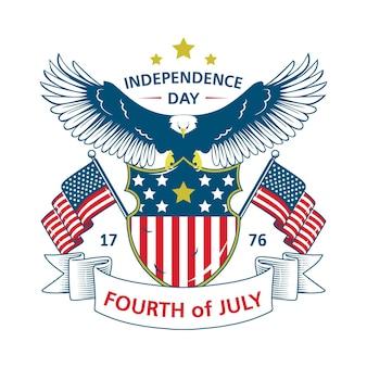 Conceito de dia da independência retrô