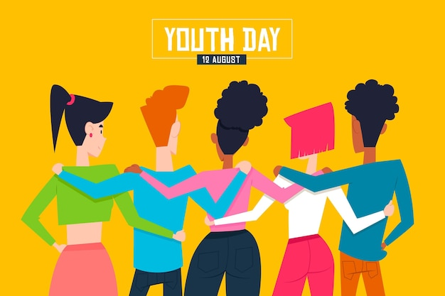 Conceito de dia da juventude com pessoas abraçando