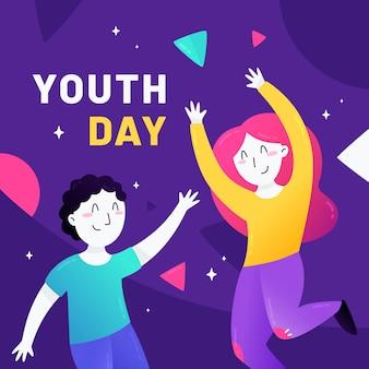 Conceito de dia da juventude de design plano