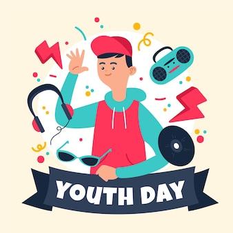Conceito de dia da juventude desenhados à mão