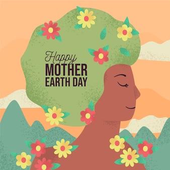 Conceito de dia da mãe terra desenhados à mão