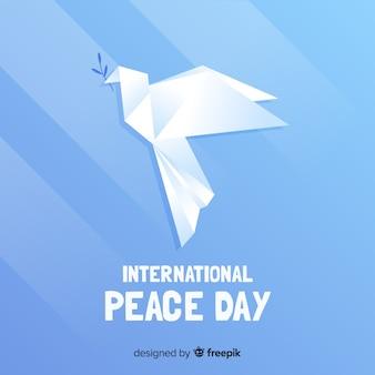 Conceito de dia da paz com pomba de origami