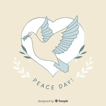 Conceito de dia da paz com pomba desenhada de mão