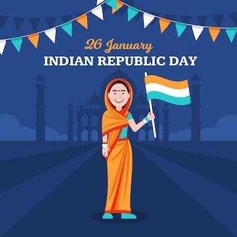 Conceito de dia da república da índia plana