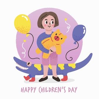 Conceito de dia das crianças na mão desenhada
