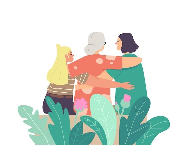 Conceito de dia das mães. amar as mães jovens e idosas, abraçando a filha e a neta vista traseira. abraço de mãe com criança, amor de personagens femininos, cuidados de geração. ilustração em vetor desenho animado