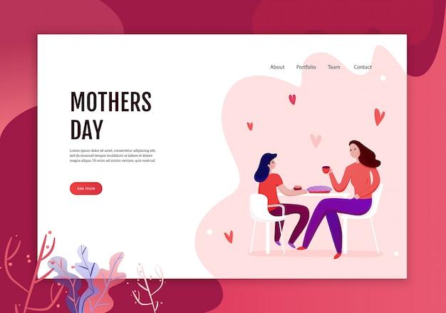 Conceito de dia das mães do banner web com mãe e filha durante a comer da ilustração festiva torta