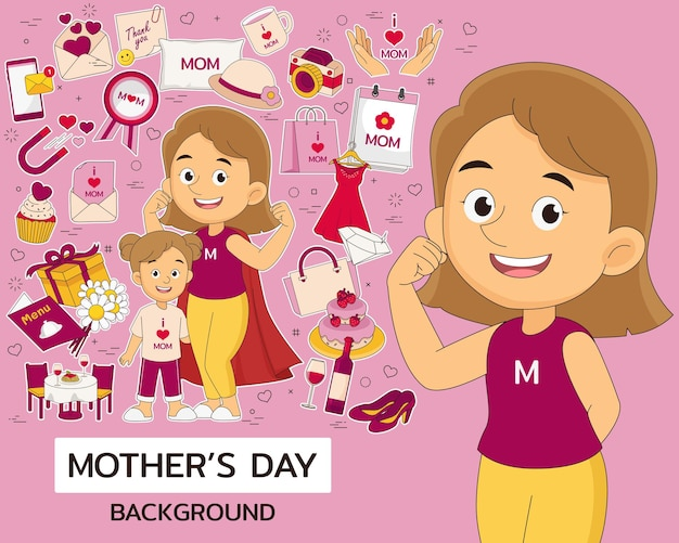 Conceito de dia das mães feliz. ícones planos.