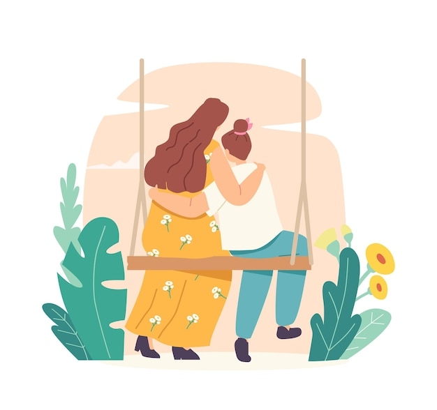 Conceito de dia das mães. mãe e filha amorosas, abraçando a vista traseira. mãe e filha abraçam sentado no balanço. personagens de mamãe e menina, boas relações, cuddle child. ilustração em vetor desenho animado