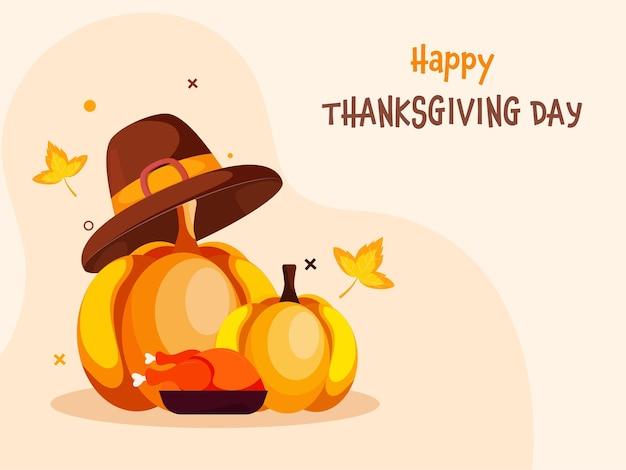 Conceito de dia de ação de graças feliz com abóboras, chapéu de peregrino, frango assado em fundo pastel de pêssego.
